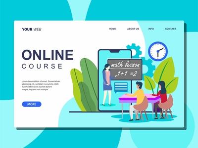 Flat Illustration of Online Course