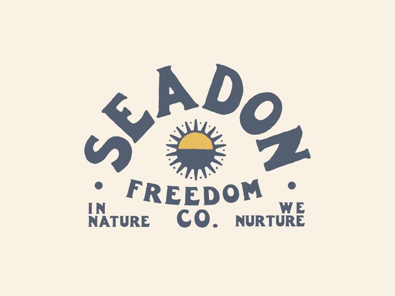 Seadon - Freedom company logo handlettering patch sun ocean sea climbing adventure freedom outdoors typographic logo illustration branding typography logo