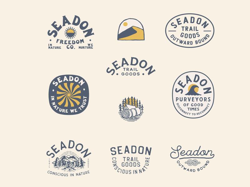 Seadon logo Design adventure nationalpark nature camping surf outdoors badge handlettering typographic logo illustration branding typography logo