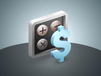 Estimate costs icon dollar calculator blue