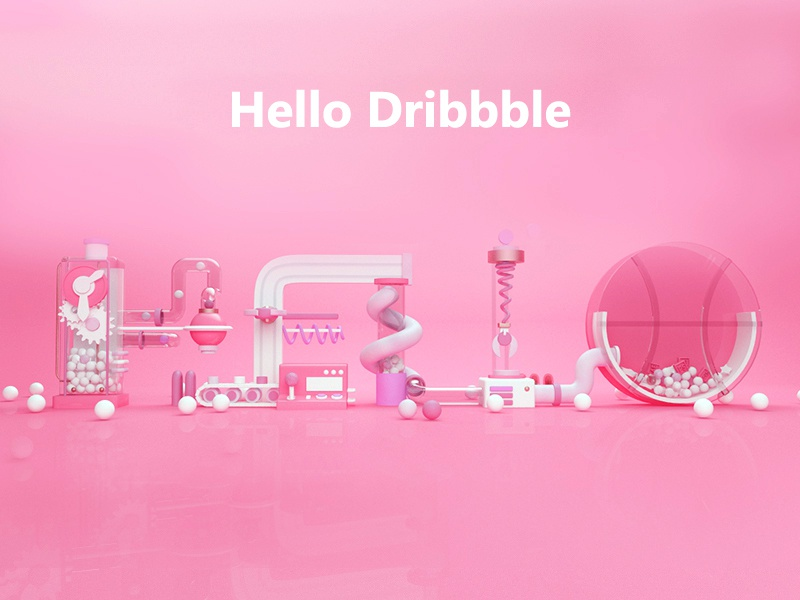 Hello dribbble!! 1 pink fifi first dribbble hello c4d