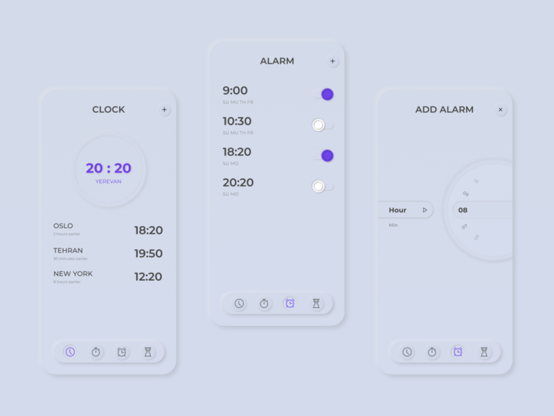 Alarm app light mode neumorphic design mobile app clock alarmclock alarm neumorphic design neumorphism darkapp darkmode app design
