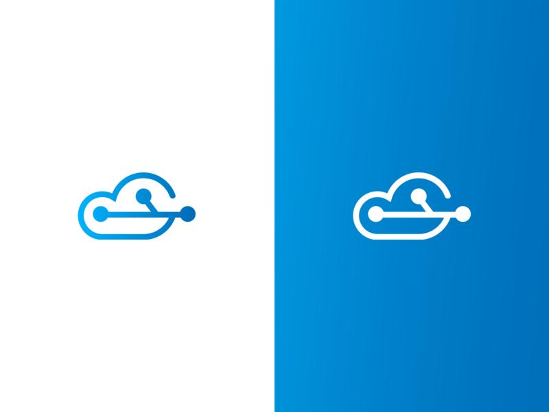 CloudTech flat design illustration minimalist identity vector minimal logo icon branding