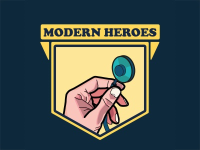 Doctors Are Modern Heroes covid 19 covid-19 covid19 hand stethoscope illustrator health care flyer poster logo modern hero doctor