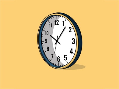 As Time Goes By clock numbers black stroke cartoon outline stroke blue yellow logo illustration time watch