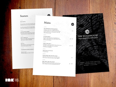 The Woodhouse Menus the woodhouse stationery restaurant