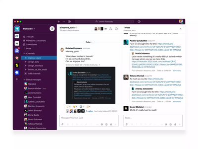 Slack - Improve Replies Concept mentions animation conversation team chat reply interaction trend userflow interface forward share links quate message thread ux replies ui slack