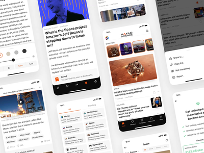 Skyur.app: Wireframes tags subscribe members interaction animation feed rss app rss news app wireframes articles ios app skyur.app medium nocode nakedscience usatoday techcrunch