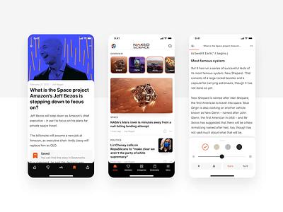 Skyur.app: Functional reading motion graphics usatoday medium skyur.app nocodeapp naked science news app newsfeed options articles news settings read