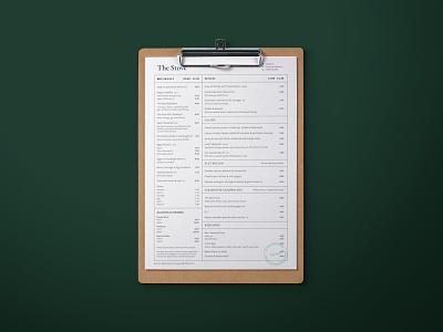 Menu design for The Stove. print design stamp the stove the stove typography print restaurant cafe rural menu