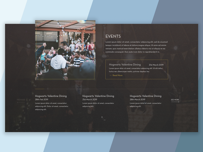 Event section ideas art deco overlay images dark ui  ux design uidesign restaurant user interface ui section events event