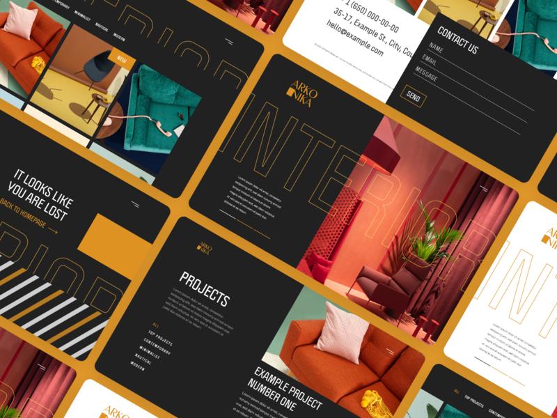 Arkonika — Interior Design Agency Portfolio modern clean creative mobile design agency portfolio showcase portfolio web design web interior design interior ui template ui design template xd ui