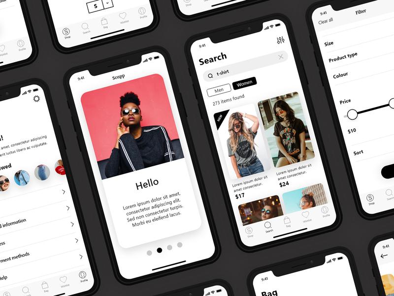 Scapp — eCommerce UI Kit simple design clean app xd user interface shop app shop ui  ux iphone template kit ui ecommerce design ui app