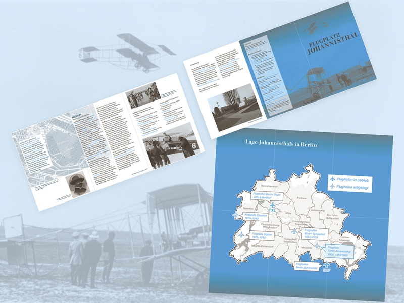 folded flyer   Johannisthal Air Field airport blue history duotone flyer design