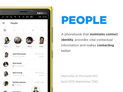 People ux interaction contextual phonebook microsoft internship