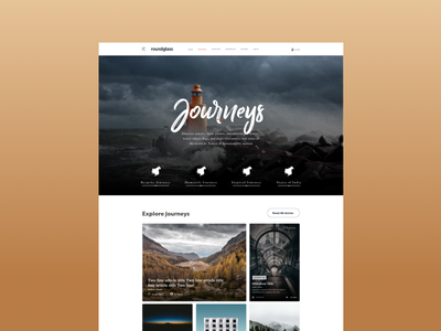 Mgazine Journeys explorations category page magazine design ui