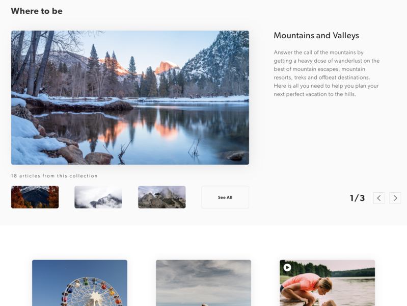 Gallery Collection Exploration gallery carousel category page exploration practice ui