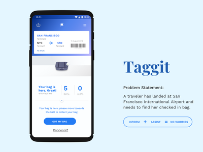 Taggit flat traveler airport bag practice concept screen concept transportation user interface ui design