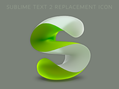 Sublime Text 2 replacement icon (green) icon 3d blender