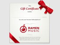 Ramen Music Gift Certificates