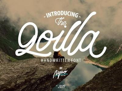 Qoilla Handwritten Font logo illustration vector design typography