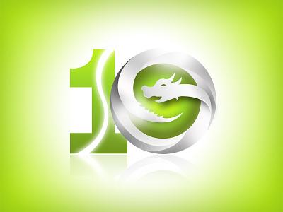 Ten ten number logo steel shining green dragon