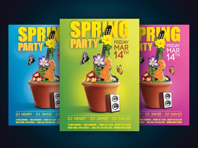 Spring Party Flyer spring nature guitar music flyer party poster flower butterfly