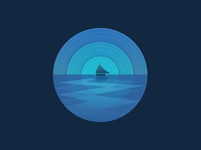 Moonlight moon night gradient flat boat simple blue shine