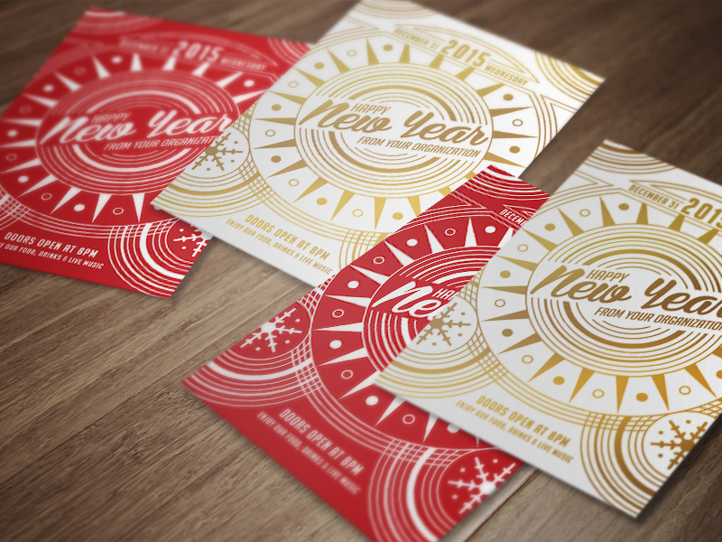 Happy New Year new year holiday season greetings celebration print flyer gold red christmas flat