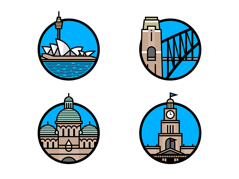 Sydney Landmarks building illustration icon flat landmark australia sydney