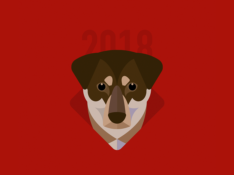 Year of the Dog 3/3 minimal red illustration new year animal chinese new year dog