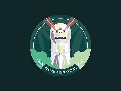 Fjord Singapore Studio Sticker vector flat illustration statue forest merlion tropical green sticker singapore fjord