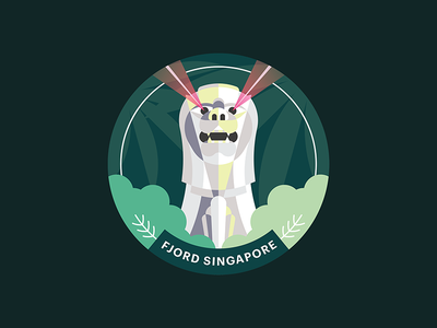 Fjord Singapore Studio Sticker vector flat illustration statue forest merlion tropical green sticker singapore fjord