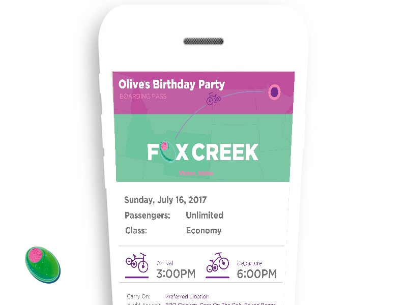 Birthday Party Invite ticket fun olive bright fresh new invitation party design app