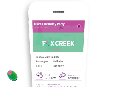 Birthday Party Invite ticket fun olive bright fresh new invitation party design app