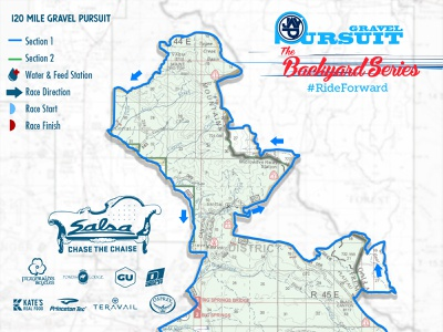 Gravel Pursuit 120Mi Course Map trail map course logo trailmap topo race course maps illustration design cartography bike race bike
