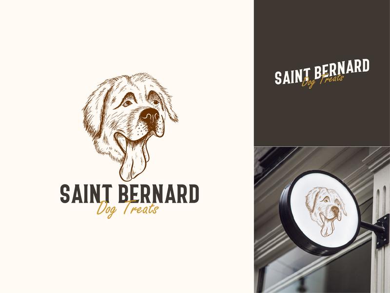 Vintage Saint Bernard Logo Design dog treats animal care dog saint bernard logo vector hand drawn vintage logo