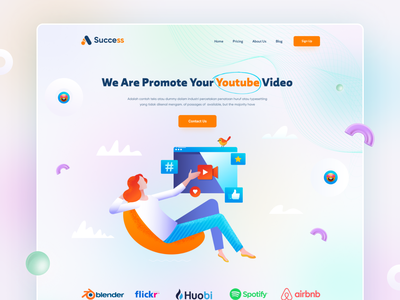 Marketing Agency Website colorful illustration social media marketing landing page marketing 3d business web ui design website marketing agency seo agency landing page uiux