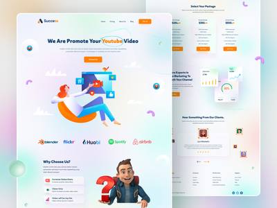 Marketing Agency product ui typography 3d gradient uiux agency seo landing page website marketing marketing landing page social media illustration colorful
