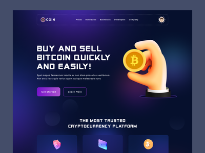 Cryptocurrency landing page uiux trending colorful coin web design website ui bitcoin money finance crypto wallet illustration landing page website crypto cryptocurrency 3d
