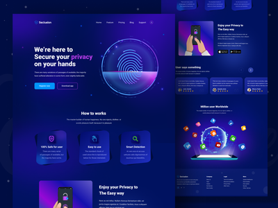 Privacy app landing page android ios website fingerprint app home page illustration uxui security app privacy app dark color web app app landing page landing page fingerprint