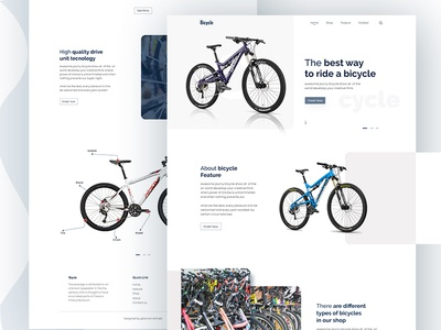 Bicycle landing page design psd design 2019 trends userinterface minimal website bicycles uiux product ecommerce business e-commerce agency branding agency bicycle landing page