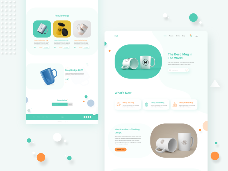 MUG Product landing page water tea homepage shape crative mugshot photoshop product color minimal 2019 trends website typography uiux landing page