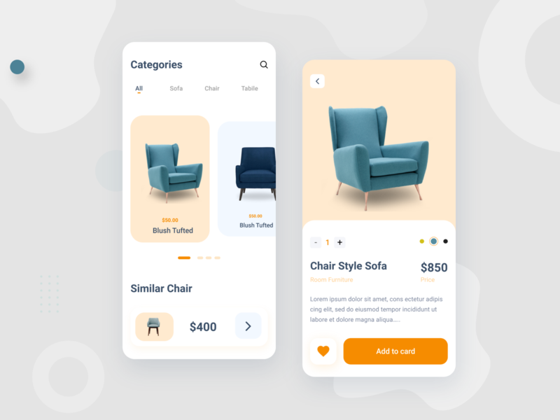 Chairs mobile shop design chair store shop ui typography mobile ui iphone ecommerce app ios app android app eccommerce design minimal uiux ios android