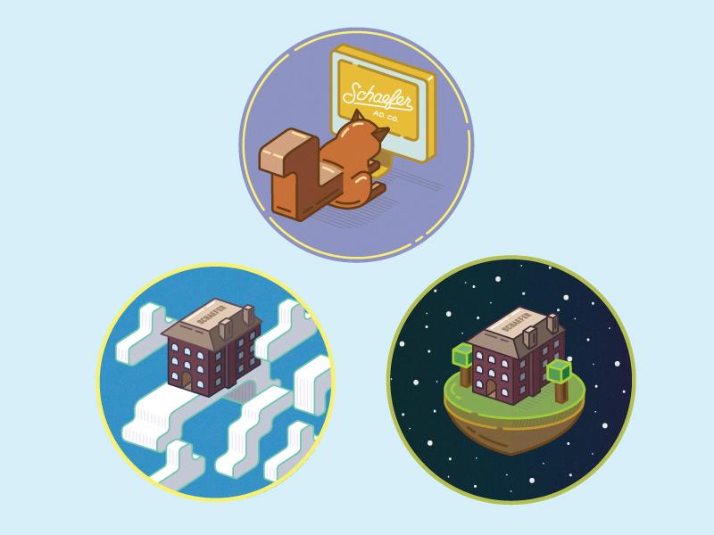 Inprog Schaefer Illustrations modern style brand cube isometric illustration stickers