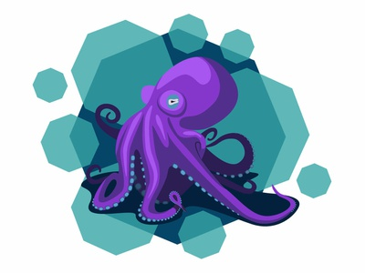 Purple octopus turquoise ocean vector illustration octopus purple