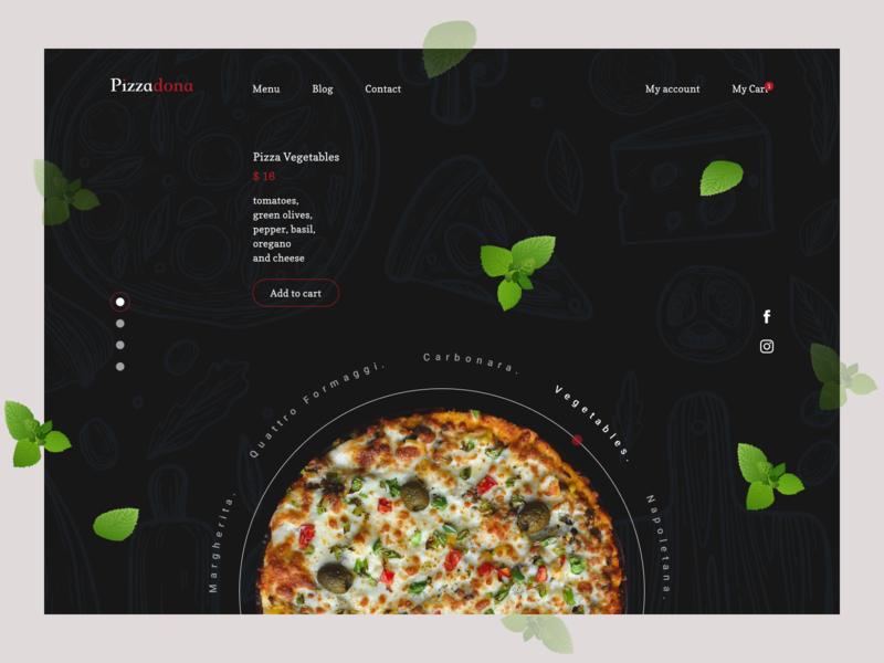Pizza restaurant Landing page vector illustration pizza food logo website web typography ux ui design