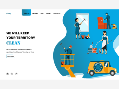 Cleaning services Landing page user inteface user experience vector logo illustration web website typography ux ui design