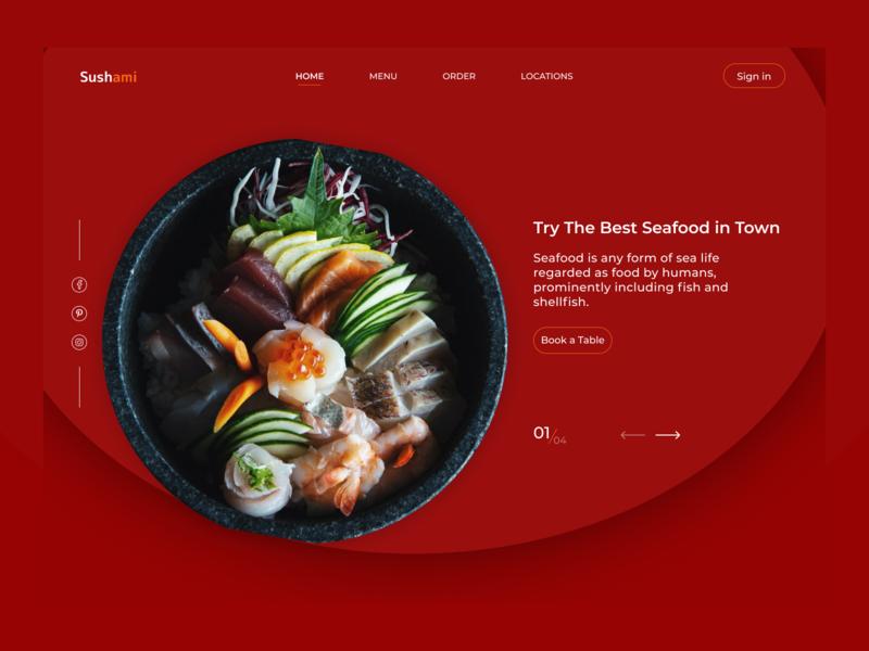 Seafood Restaurant Landing Page trendy food logo icon website web typography ux ui design