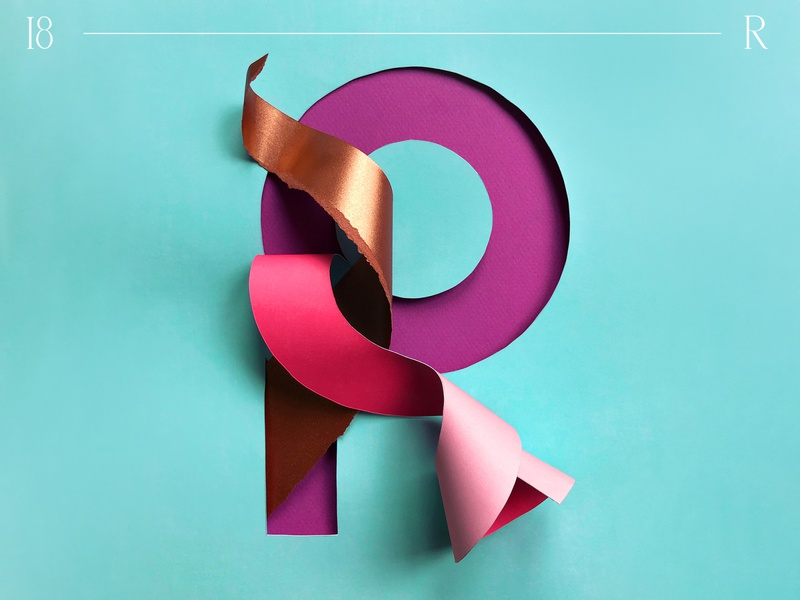 R   36 days of type shape 3dart 3d monogram visual art craft colorful pastel color popcolor 36 days of type 36daysoftype handlettered typography papercut branding paper art paper graphic design design illustration